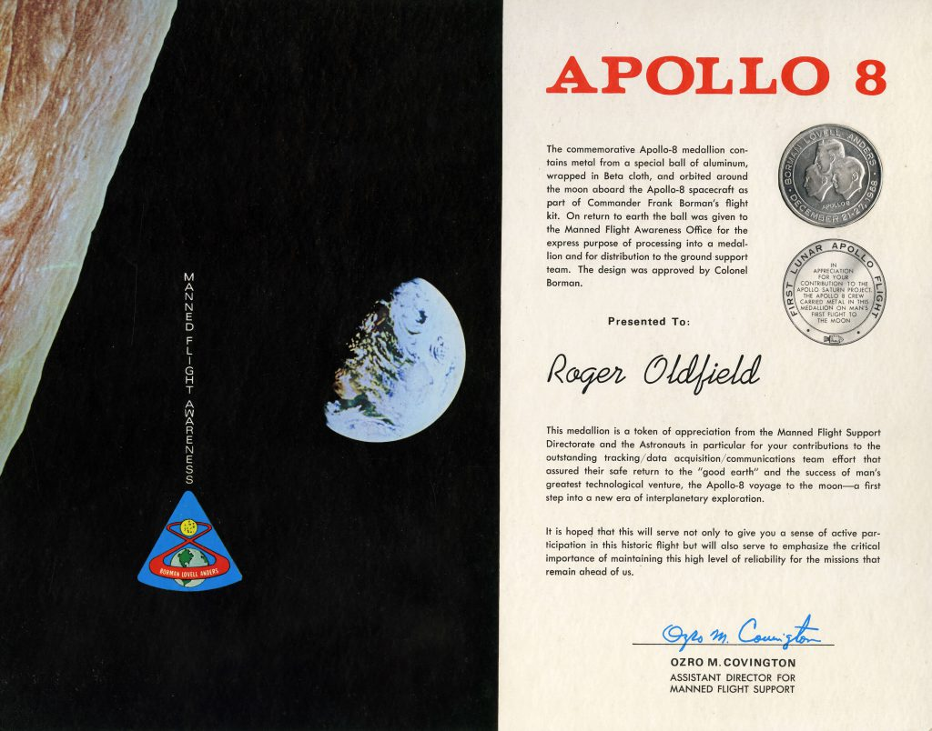 Certificate which accompanied a commemorative Apollo * medallion presented to technician Roger Oldfield as a member of the ground support team, December 21-27 1968 © National Museum of Bermuda