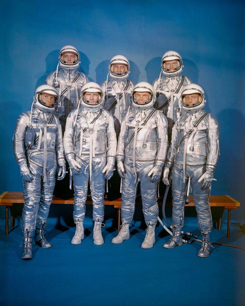 The first group of NASA astronauts were selected in 1959 for the Mercury program (from left) Wally Schirra, Alan Shepard, Deke Slayton, Gus Grissom, John Glenn, Gordon Cooper and Scott Carpenter © NASA