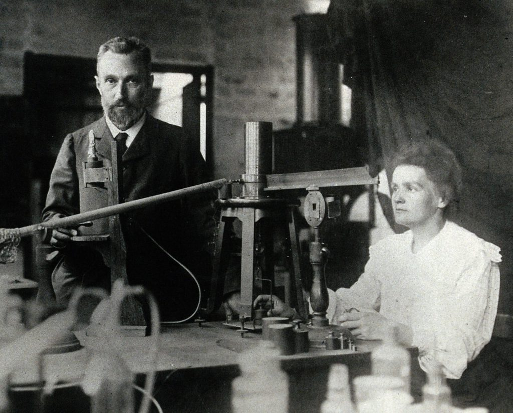 Pierre and Marie Curie in the laboratory, c. 1904.